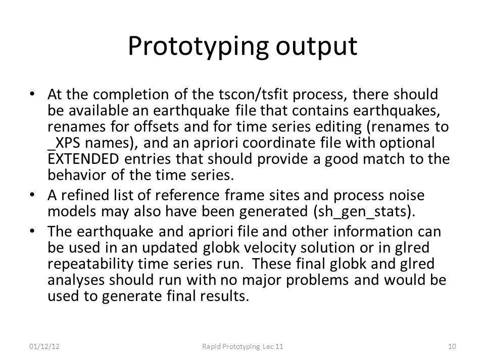 Prototyping output