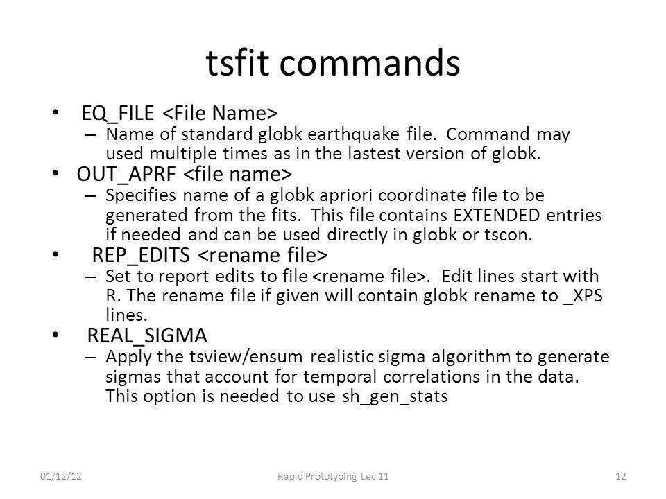 tsfit commands EQ_FILE <File Name> OUT_APRF <file name>