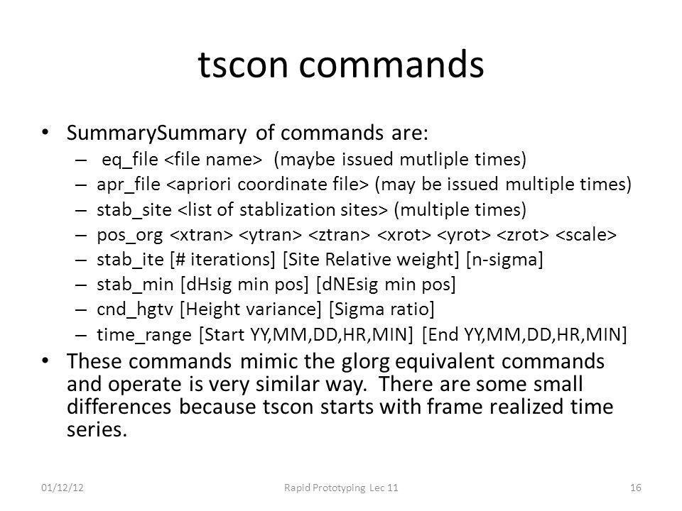 tscon commands SummarySummary of commands are: