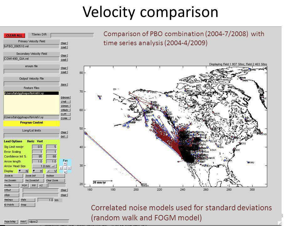 Velocity comparison Comparison of PBO combination (2004-7/2008) with time series analysis (2004-4/2009)