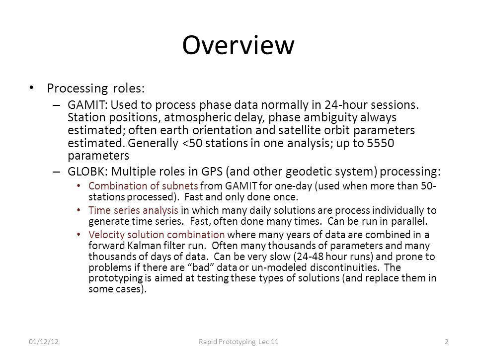 Overview Processing roles: