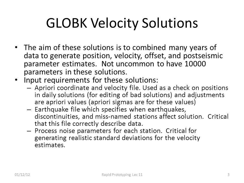 GLOBK Velocity Solutions