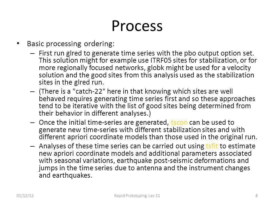 Process Basic processing ordering: