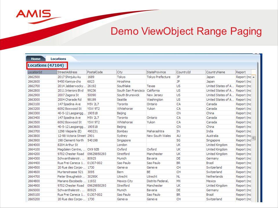 Demo ViewObject Range Paging