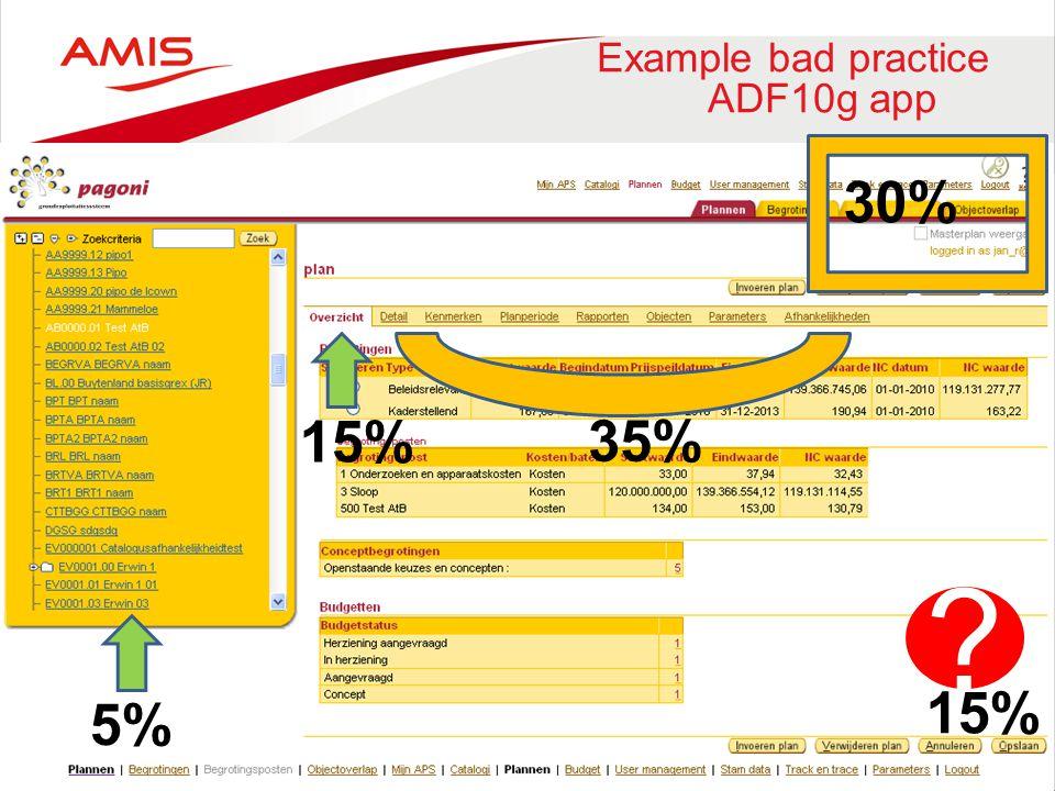 Example bad practice ADF10g app
