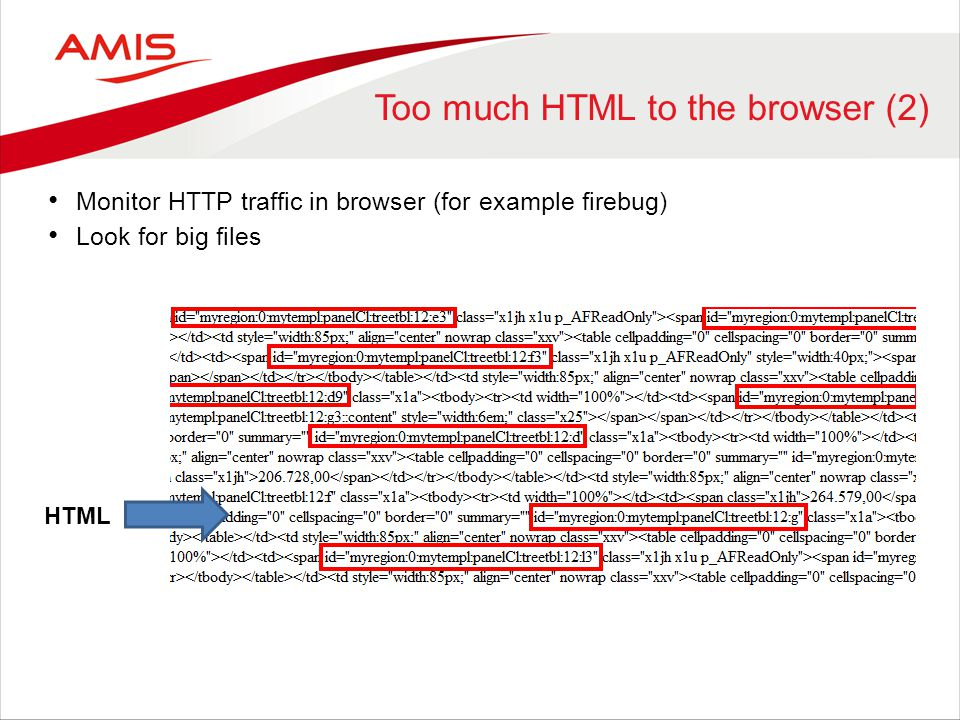 Too much HTML to the browser (2)