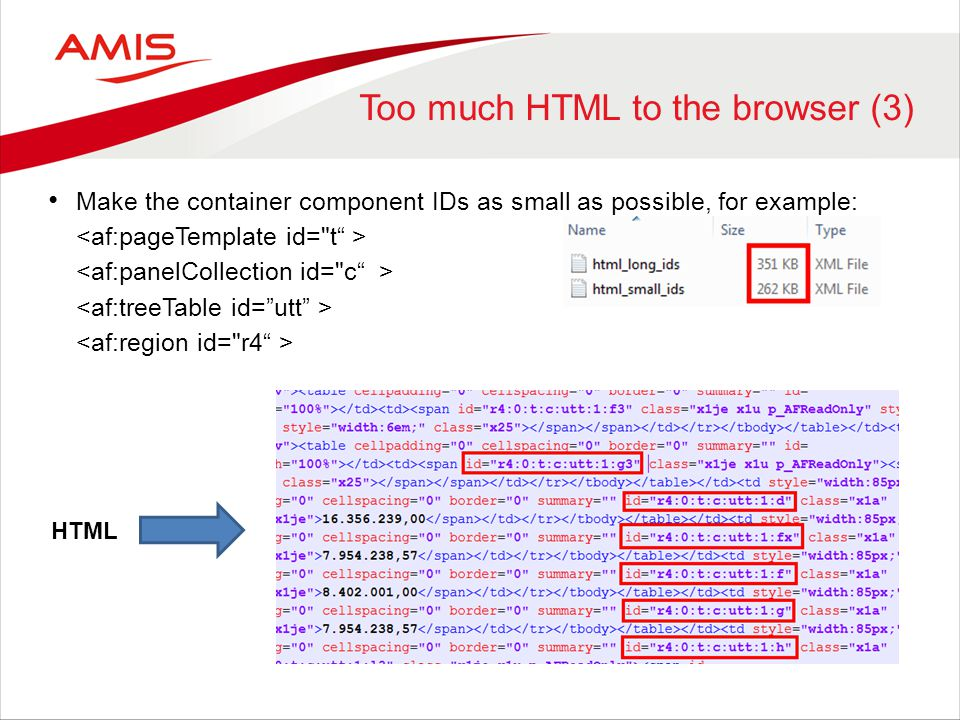 Too much HTML to the browser (3)