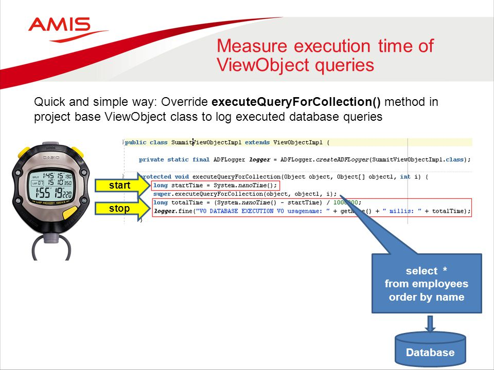 Measure execution time of ViewObject queries