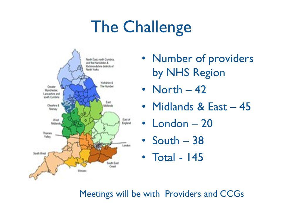 The Challenge Number of providers by NHS Region North – 42