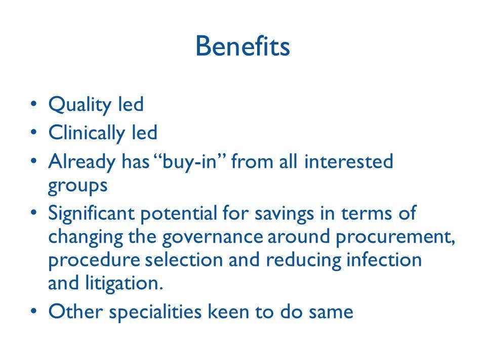 Benefits Quality led Clinically led