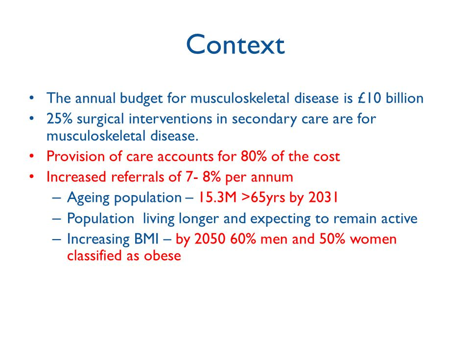 Context The annual budget for musculoskeletal disease is £10 billion
