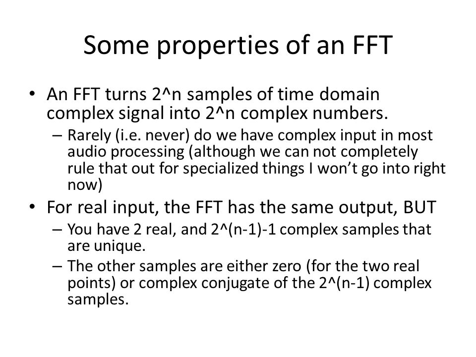 Some properties of an FFT