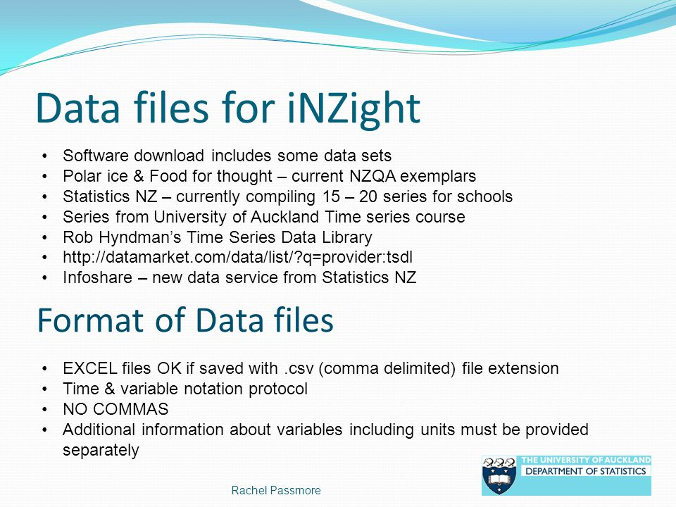 Data files for iNZight Format of Data files