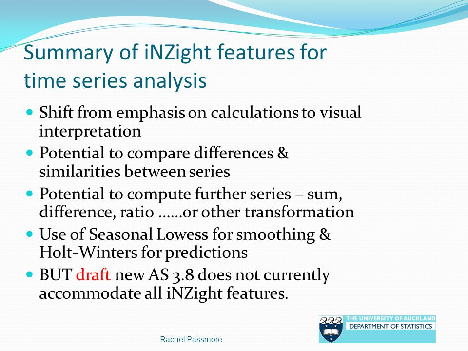 Summary of iNZight features for time series analysis