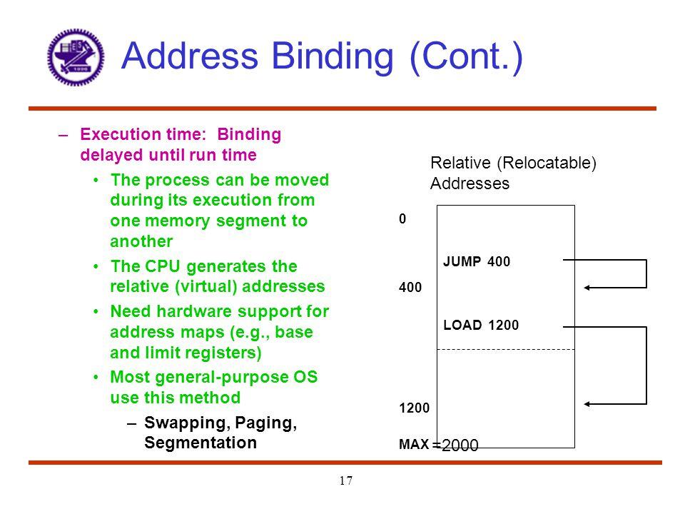 Address Binding (Cont.)