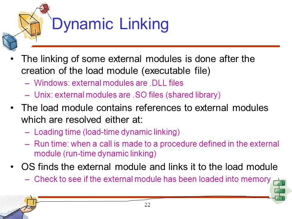 Dynamic Linking The linking of some external modules is done after the creation of the load module (executable file)