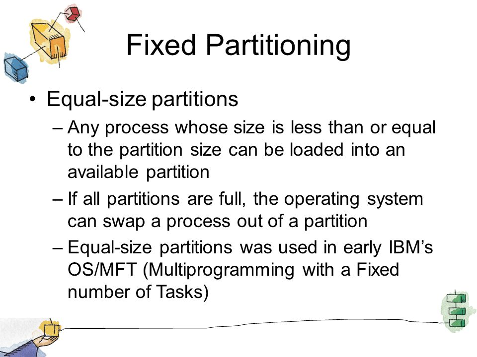 Fixed Partitioning Equal-size partitions