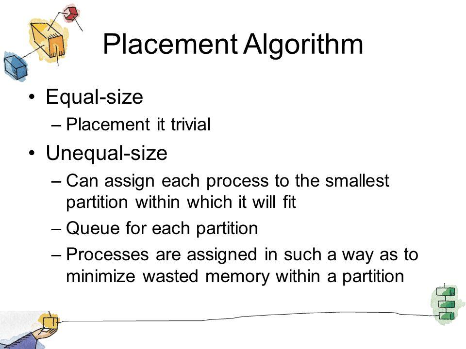 Placement Algorithm Equal-size Unequal-size Placement it trivial