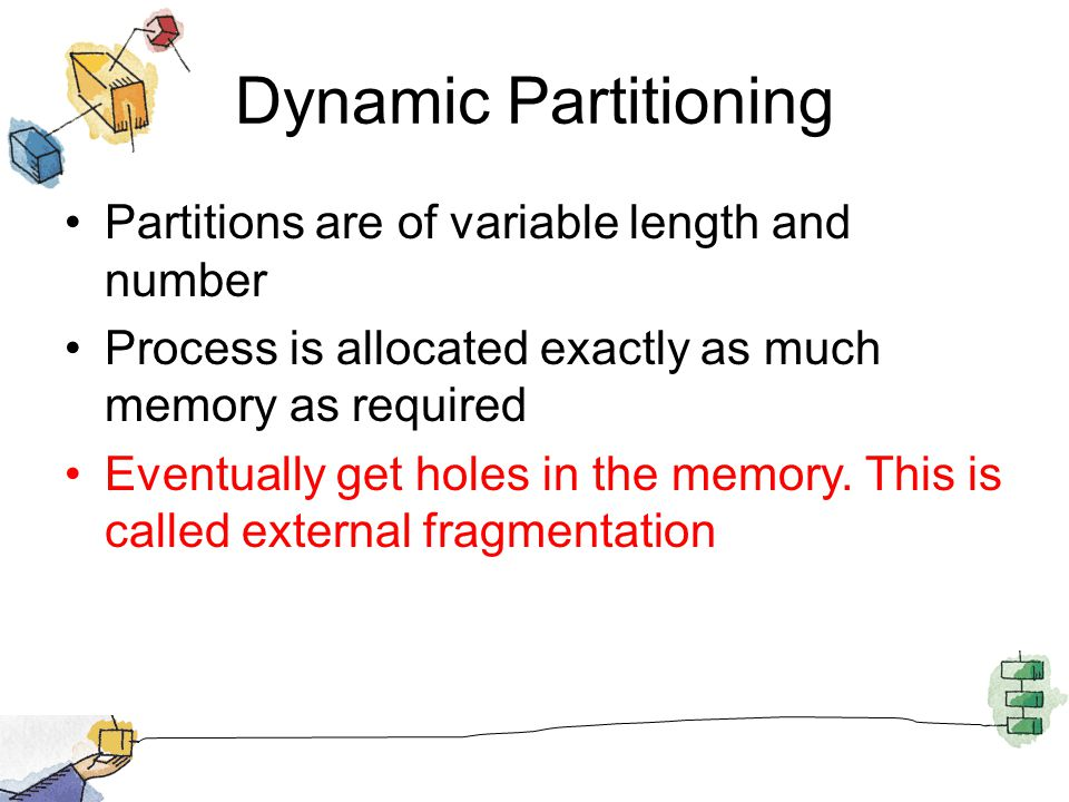 Dynamic Partitioning Partitions are of variable length and number