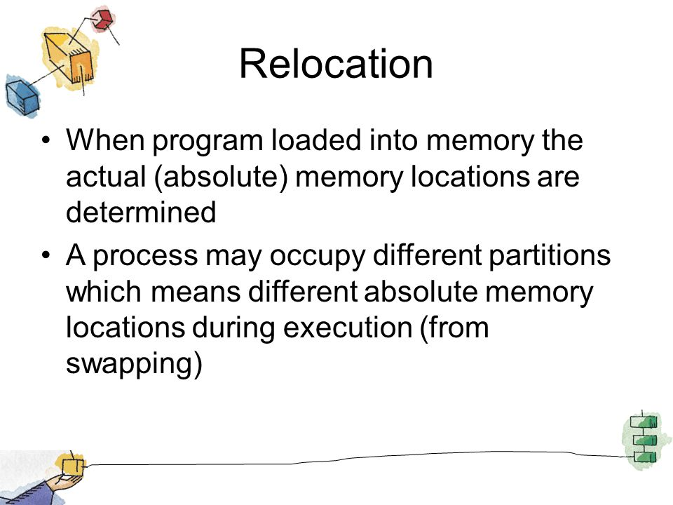 Relocation When program loaded into memory the actual (absolute) memory locations are determined.