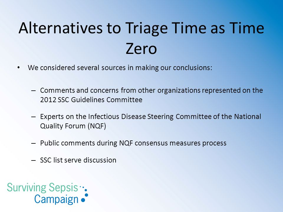 Alternatives to Triage Time as Time Zero