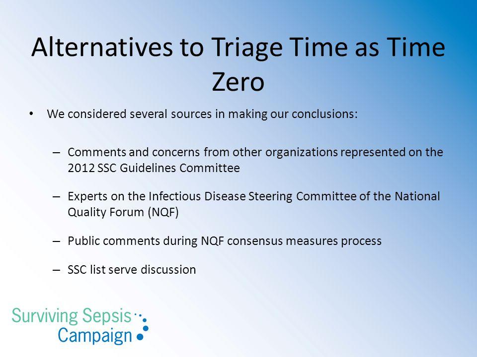 Alternatives to Triage Time as Time Zero