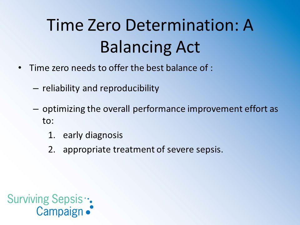 Time Zero Determination: A Balancing Act
