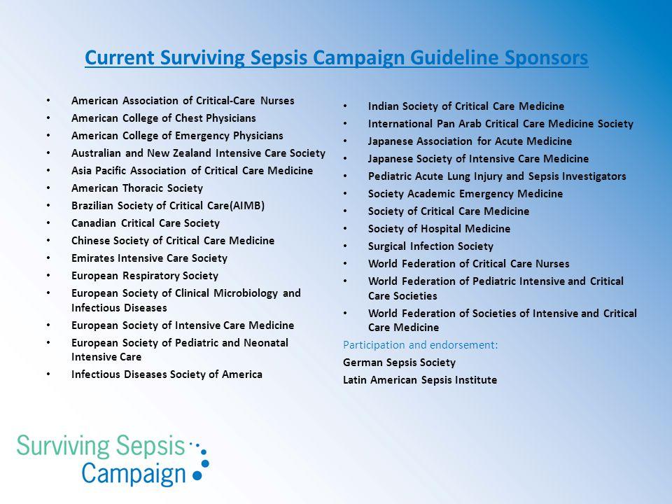 Current Surviving Sepsis Campaign Guideline Sponsors