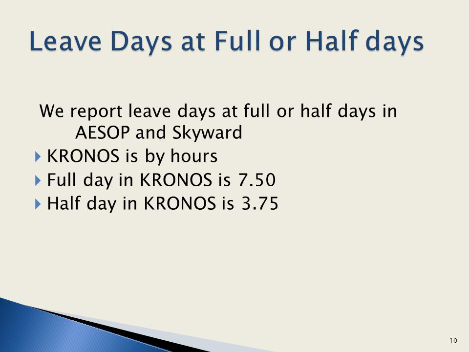 Leave Days at Full or Half days