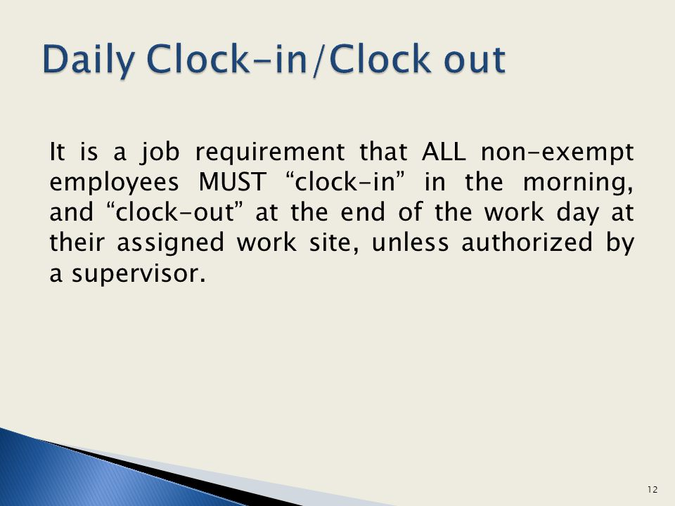 Daily Clock-in/Clock out
