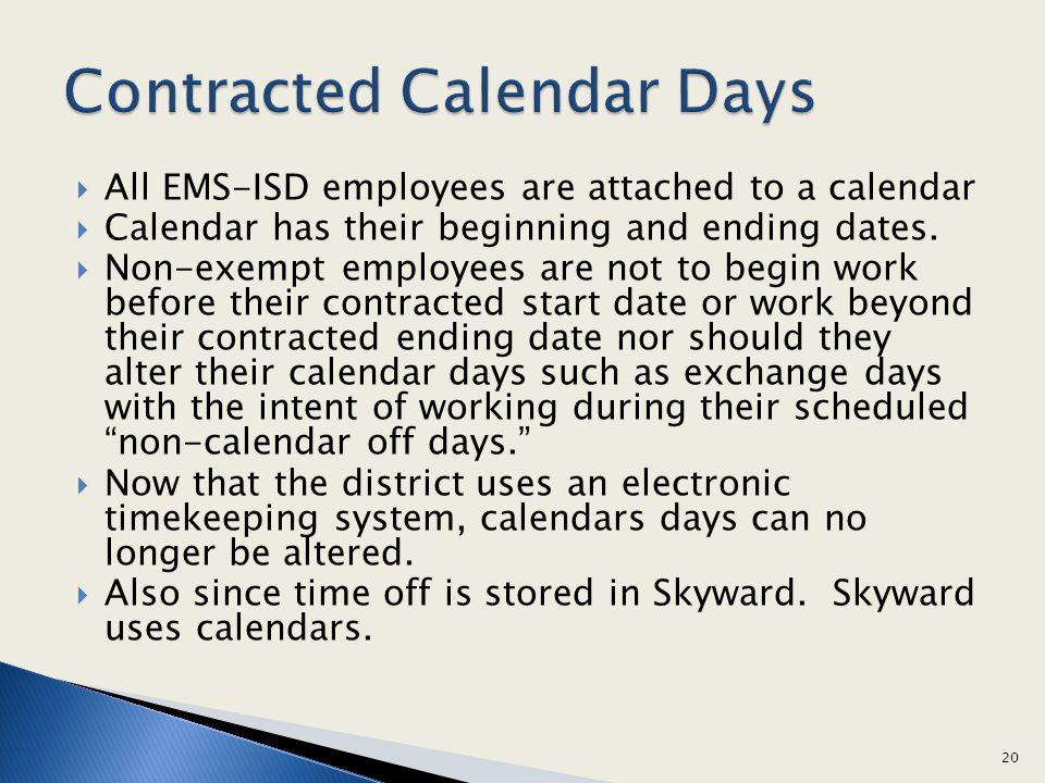 Contracted Calendar Days