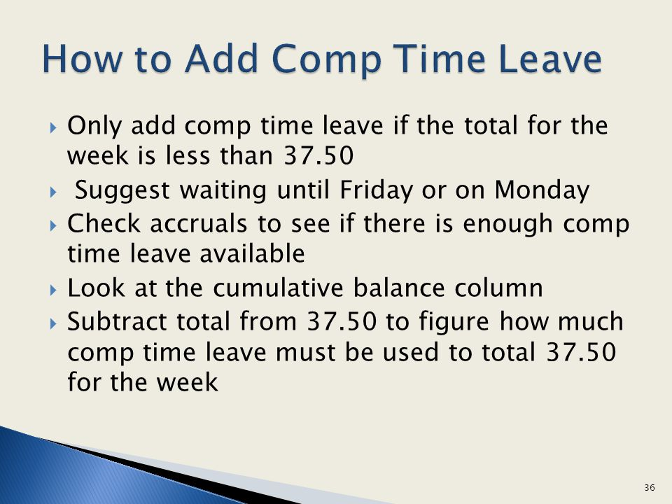 How to Add Comp Time Leave