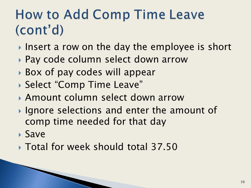 How to Add Comp Time Leave (cont'd)