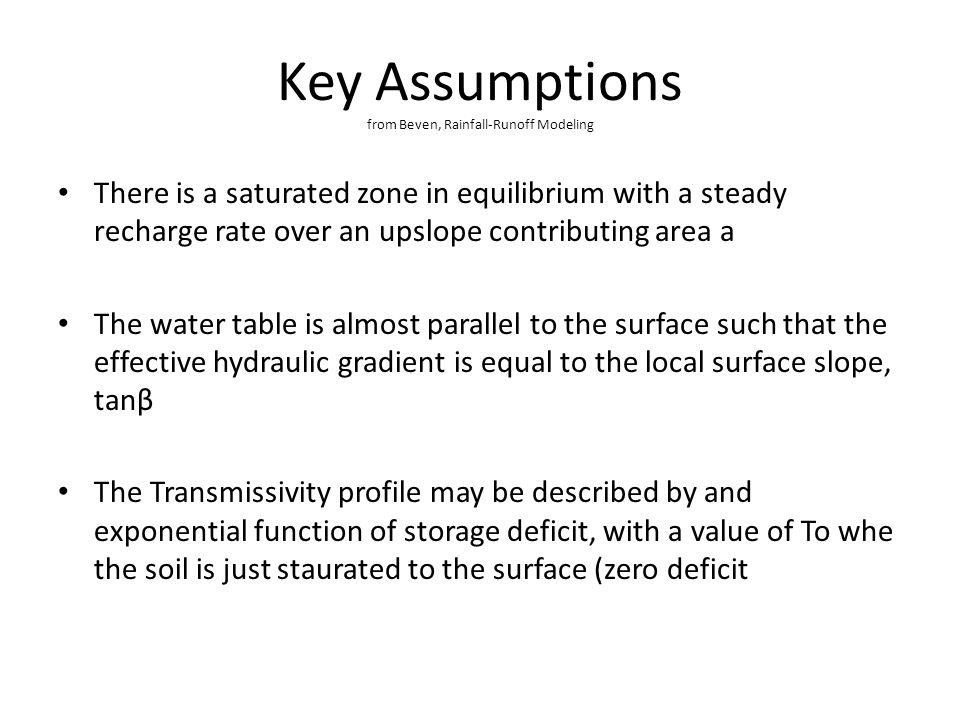 Key Assumptions from Beven, Rainfall-Runoff Modeling