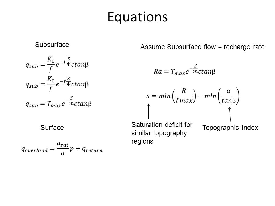 Equations Subsurface Assume Subsurface flow = recharge rate