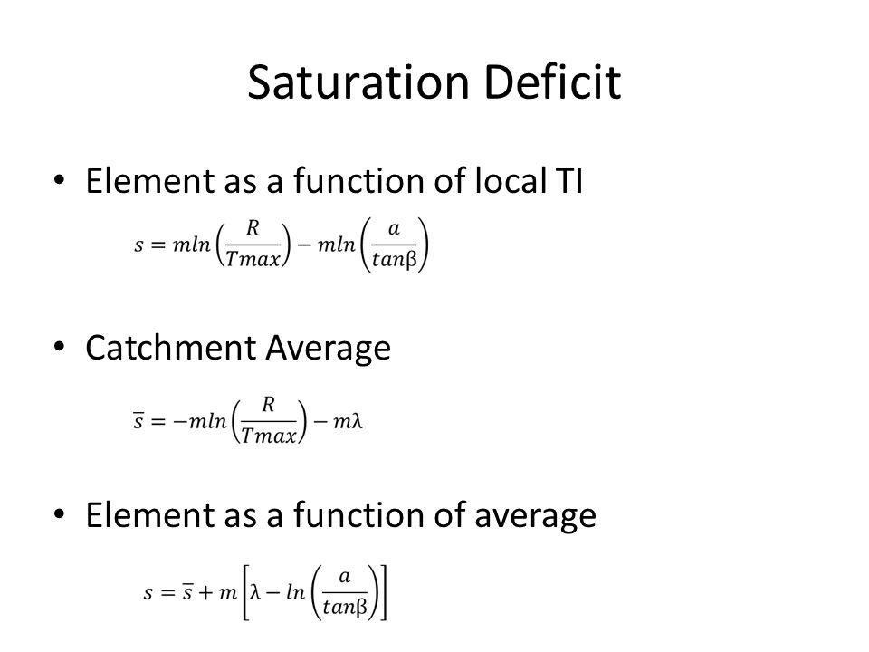 Saturation Deficit Element as a function of local TI Catchment Average