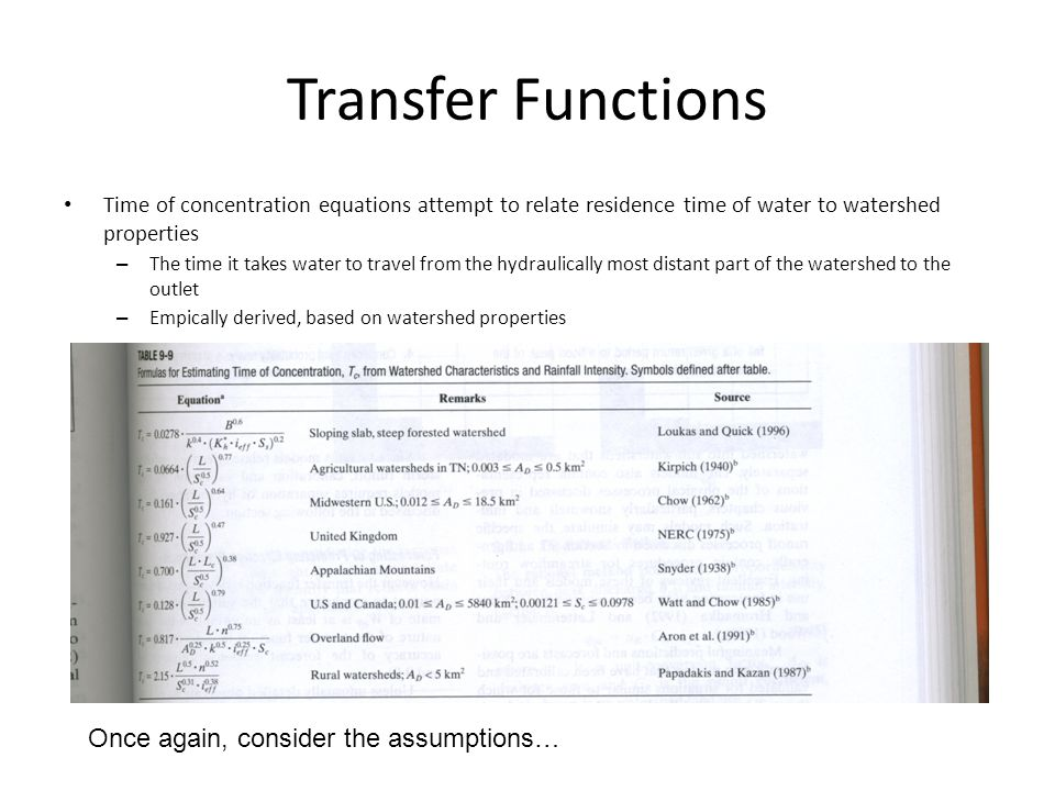 Transfer Functions Once again, consider the assumptions…