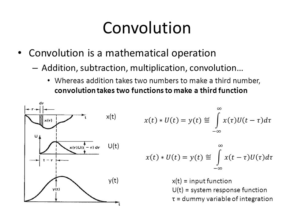 Convolution Convolution is a mathematical operation