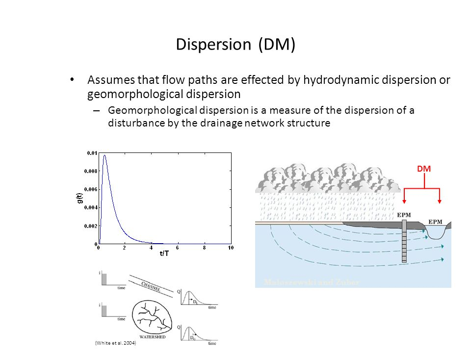 Dispersion (DM) Assumes that flow paths are effected by hydrodynamic dispersion or geomorphological dispersion.