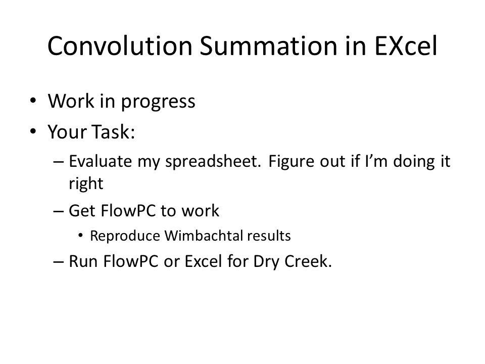 Convolution Summation in EXcel