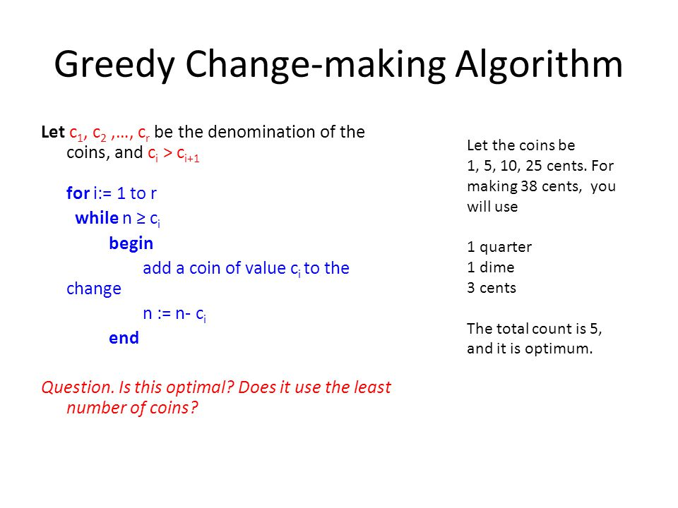 Greedy Change-making Algorithm