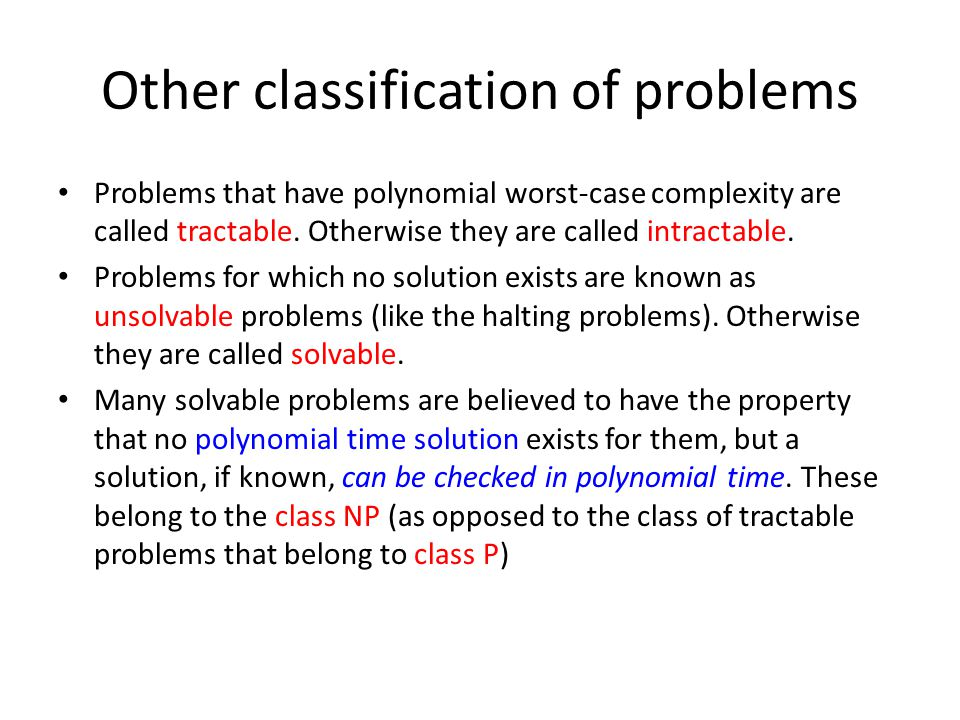 Other classification of problems