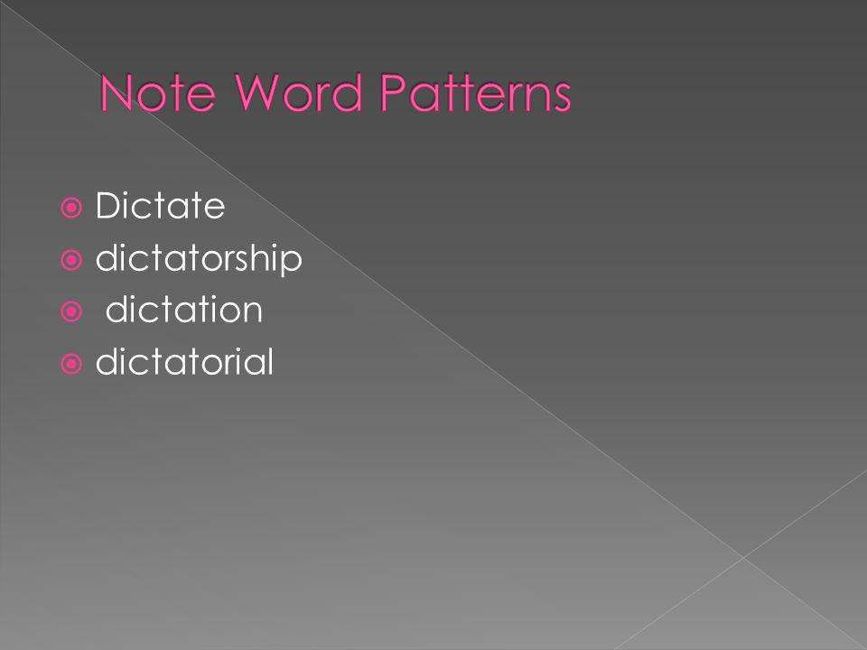 Note Word Patterns Dictate dictatorship dictation dictatorial