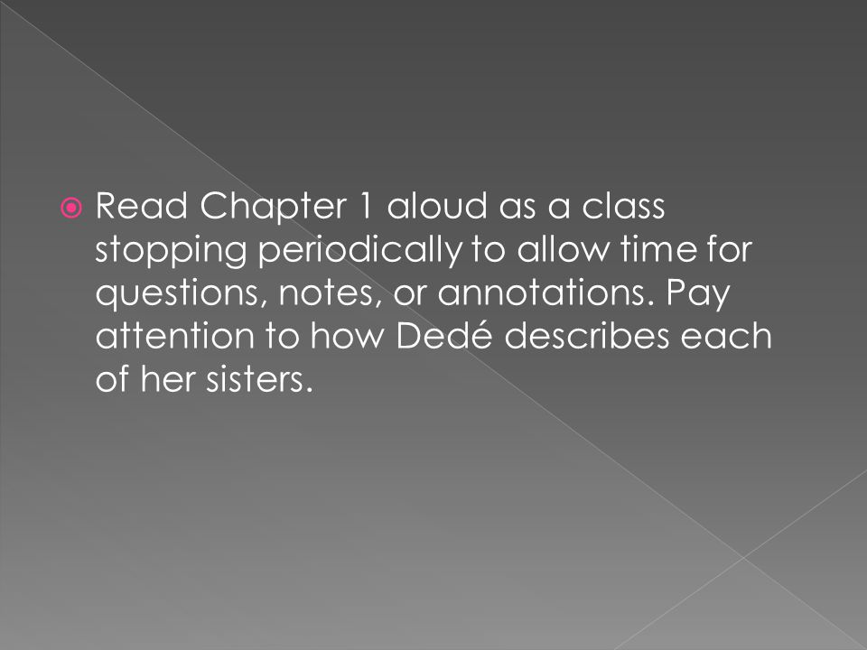 Read Chapter 1 aloud as a class stopping periodically to allow time for questions, notes, or annotations.