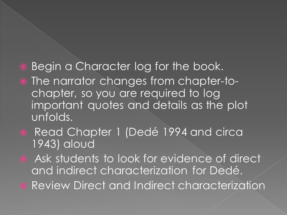 Begin a Character log for the book.