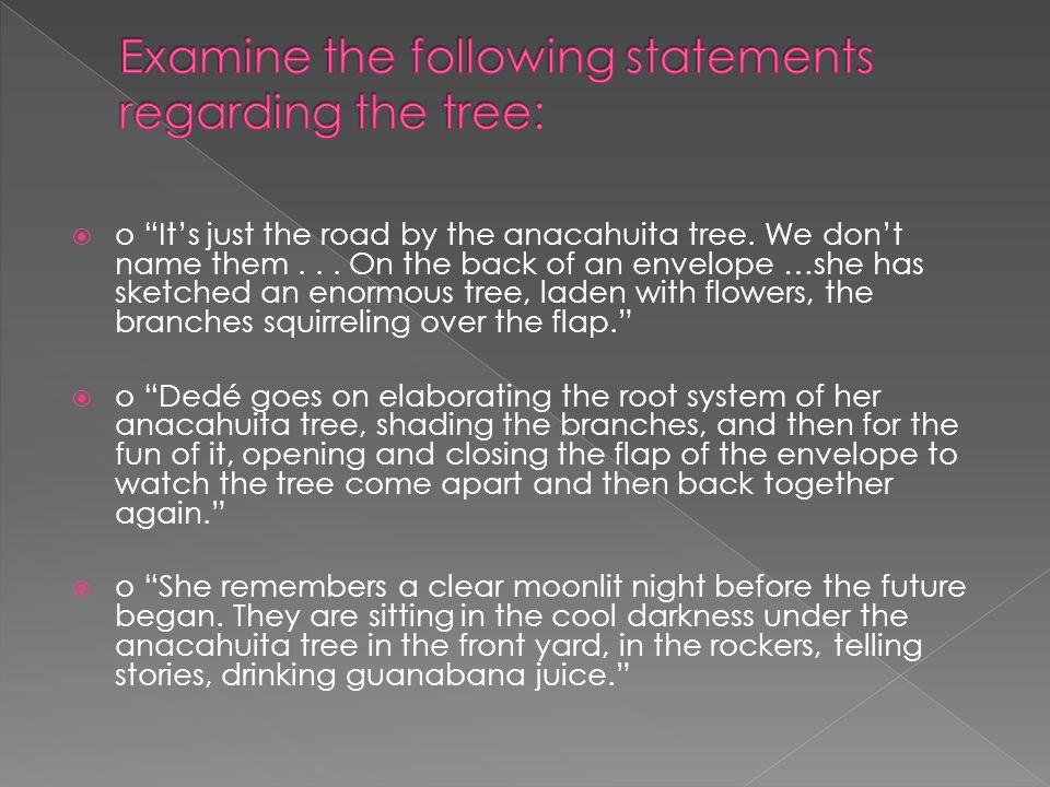 Examine the following statements regarding the tree: