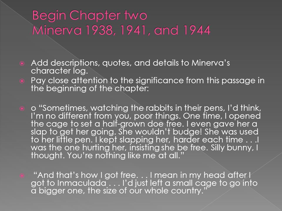 Begin Chapter two Minerva 1938, 1941, and 1944