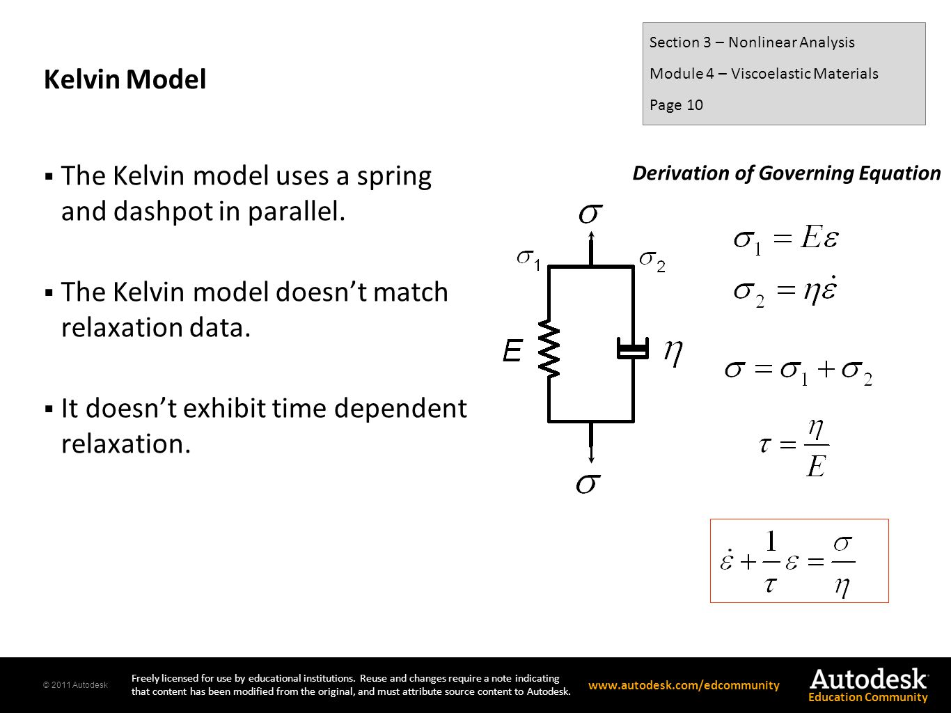 The Kelvin model uses a spring and dashpot in parallel.