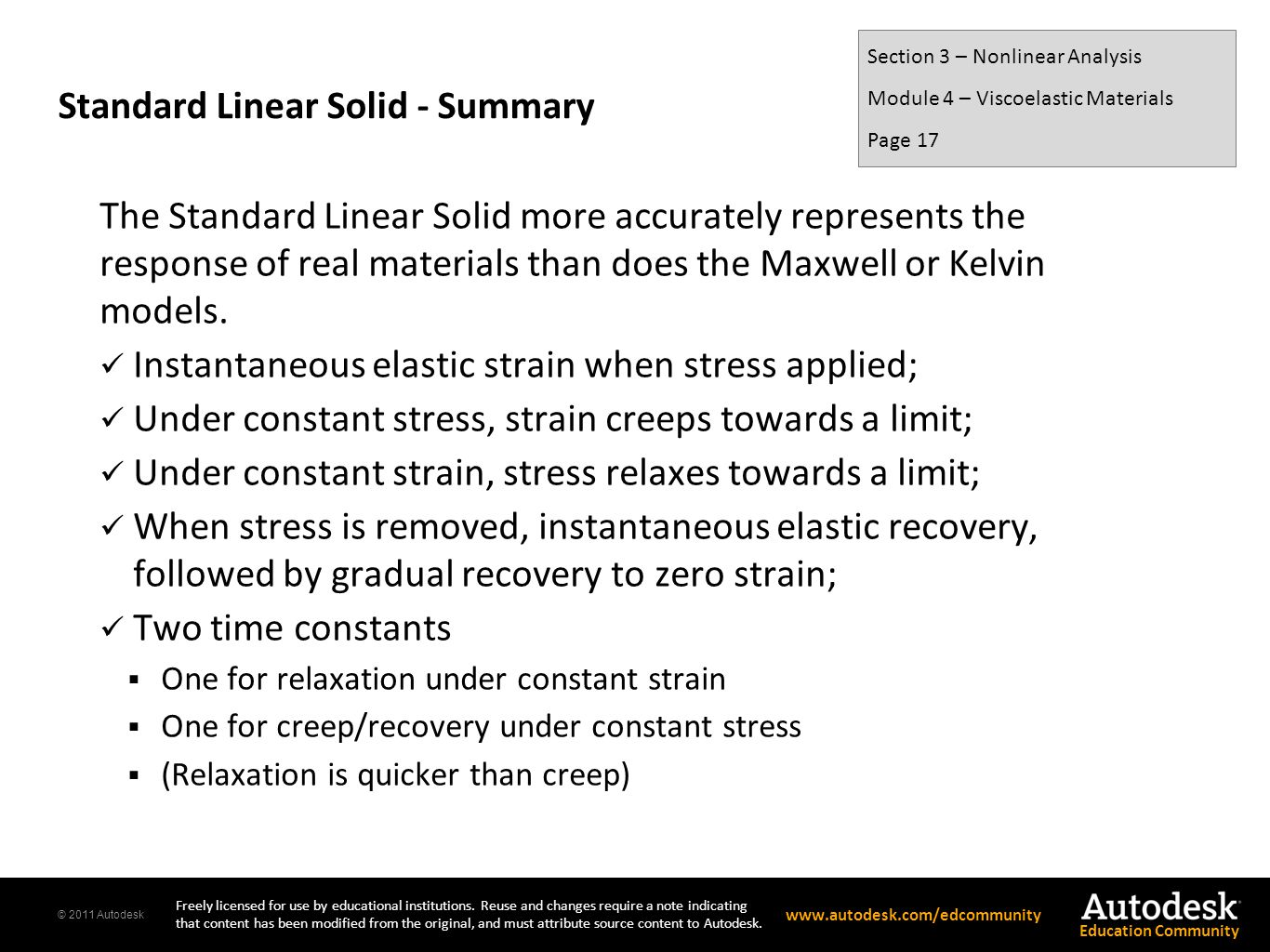 Standard Linear Solid - Summary
