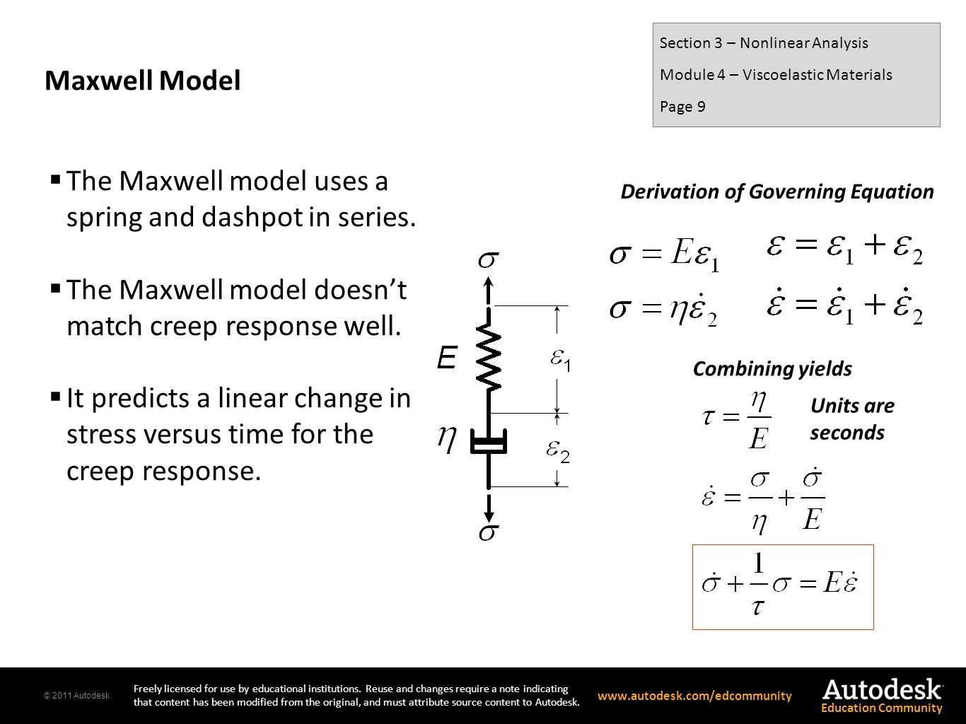 The Maxwell model uses a spring and dashpot in series.